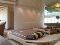 kreuzfahrtschiff-aidastella-wellness-oase-4, Modell  Dessert auf runder Wand  eingebaut.