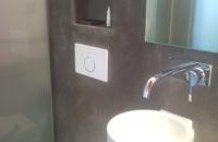 steinwand-beton-badezimmer, Betonlook Edel mit alape  Waschbecken