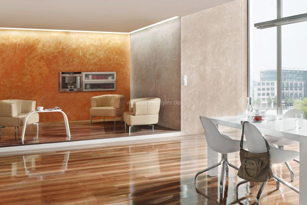Wandspachteltechniken wanddesign farbputze betonspachtel steinwand in beton metallicwand - Wandgestaltung antik ...