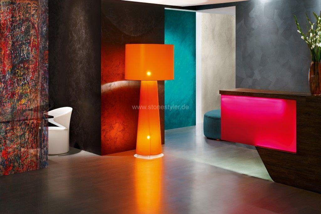 Wandspachteltechniken wanddesign farbputze betonspachtel steinwand in beton metallicwand - Steinwand innenbereich ...