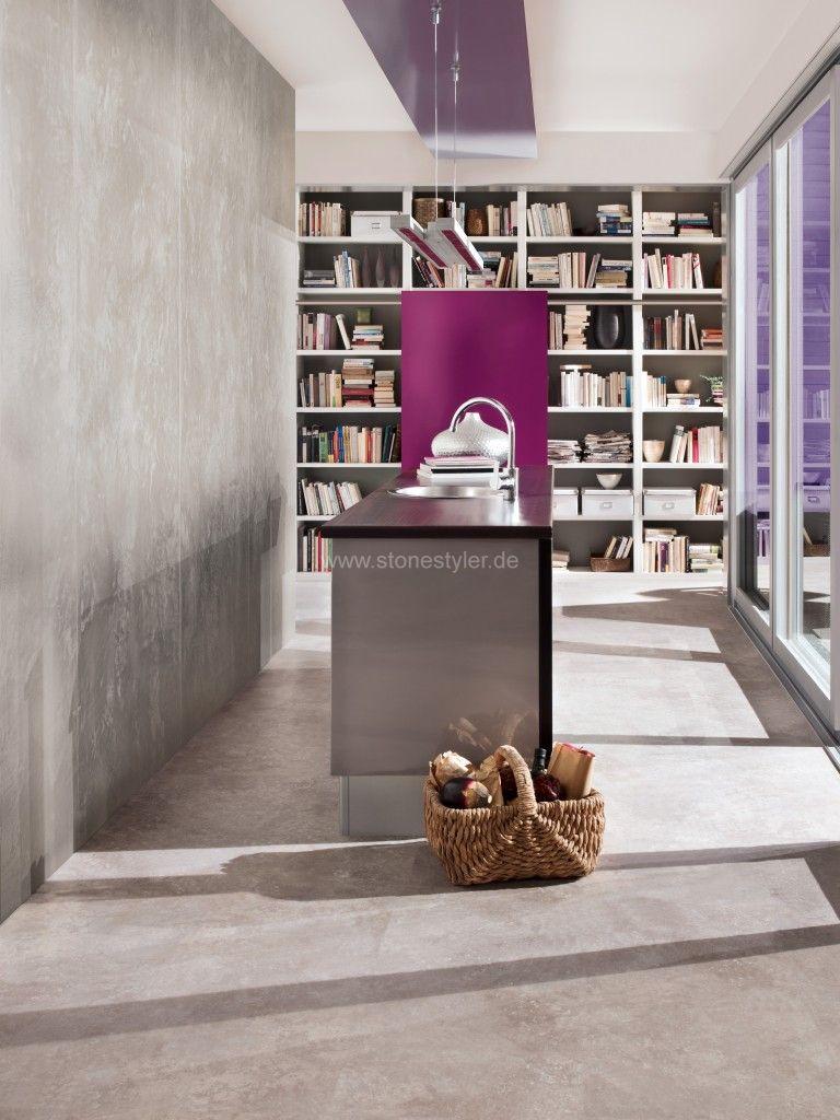wandspachteltechniken wanddesign farbputze betonspachtel steinwand in beton metallicwand. Black Bedroom Furniture Sets. Home Design Ideas