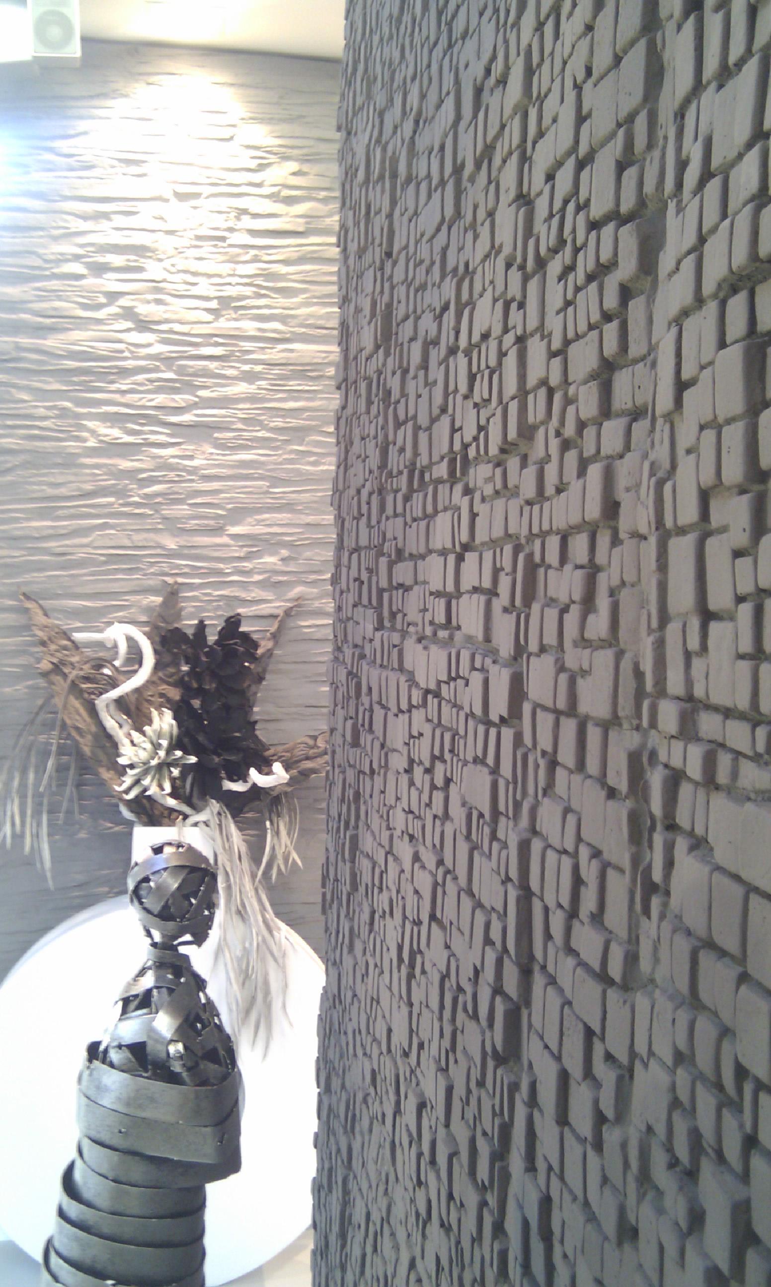 Wohnwand selbst bauen - Steinwand anthrazit ...