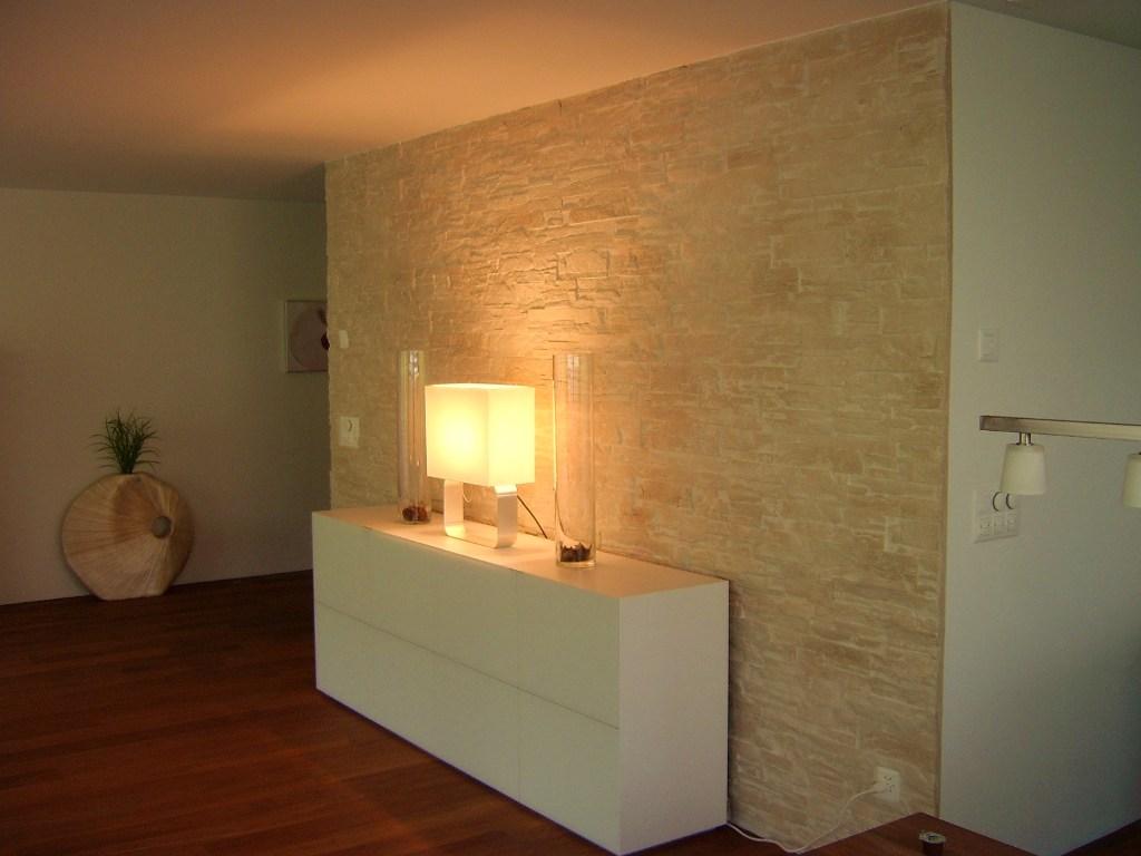 Wohnzimmer Mit Steintapete